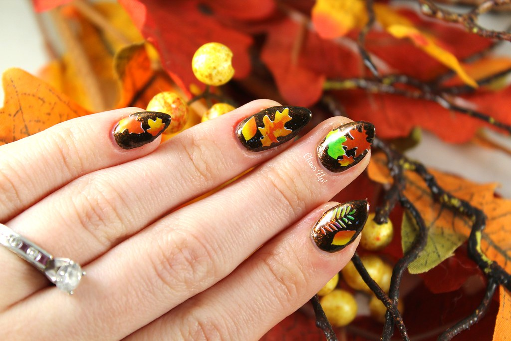 Fall leaf nail art for Thanksgiving