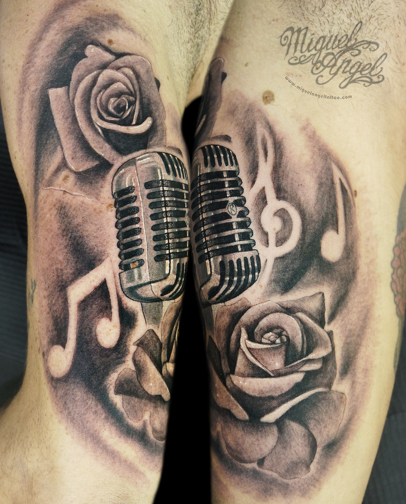 All Sizes Vintage Microphone Music Notes And Roses Custom Tattoo