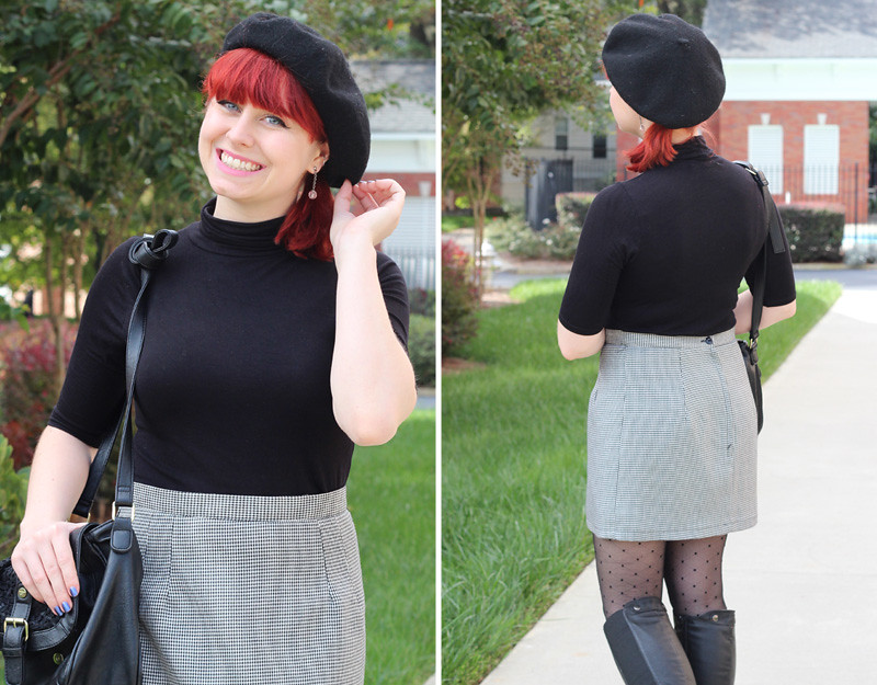 Black Beret with Bright Red Hair, Black Short Sleeved Turtleneck Top, and Houndstooth Skirt
