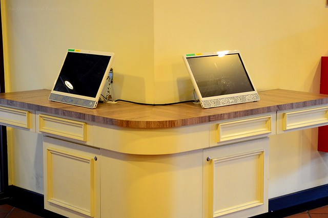 Desktops in the lobby for guests' use