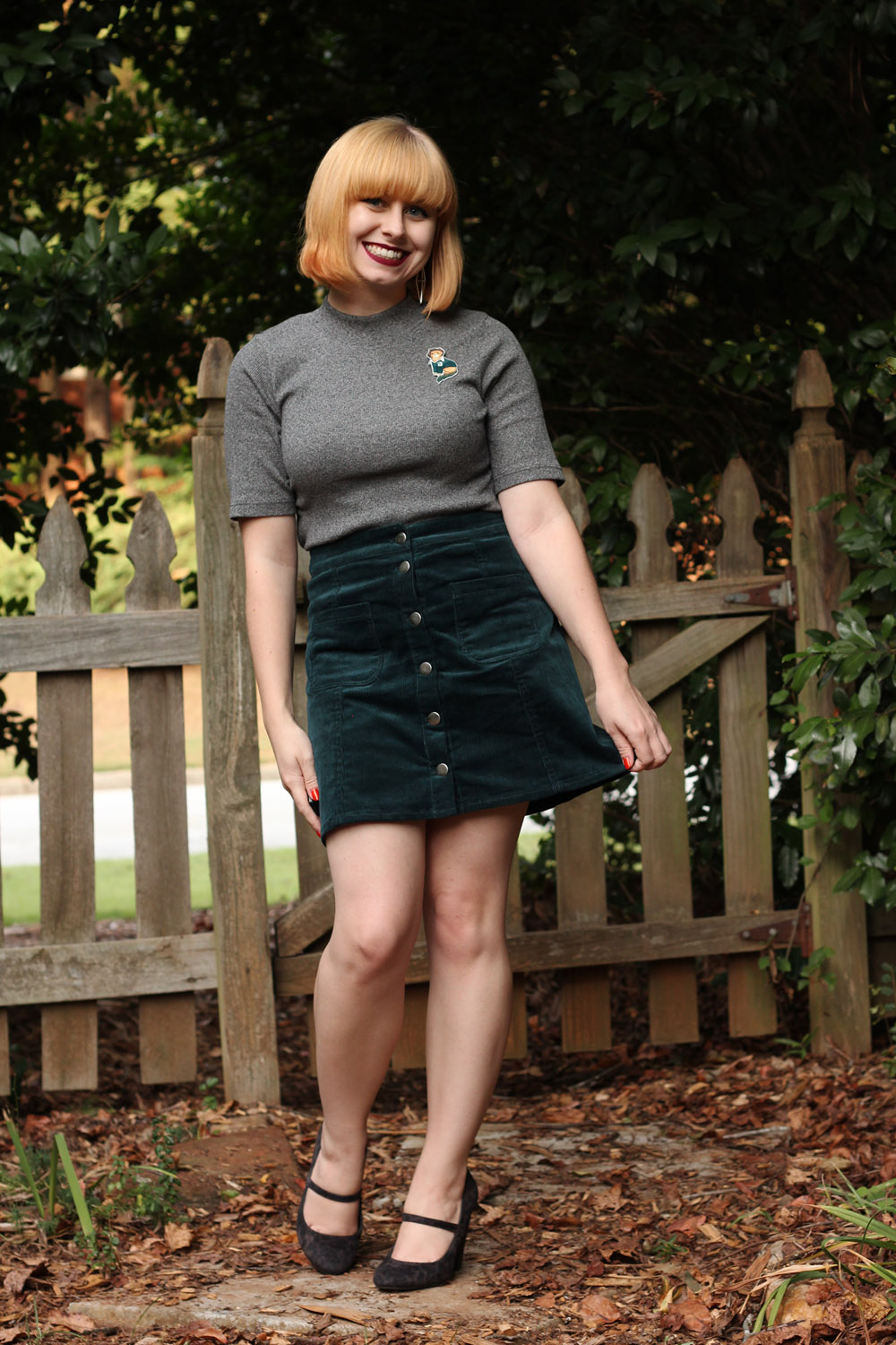 Dark Green Corduroy Skirt Gray Mock Neck Shirt Leopard Mary Jane Heels