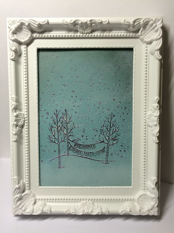 Stampin Up White Christmas framed picture by StickerKitten