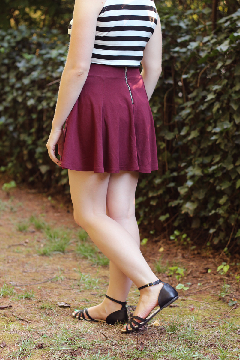 H&M Maroon Skater Skirt with Zipper Back