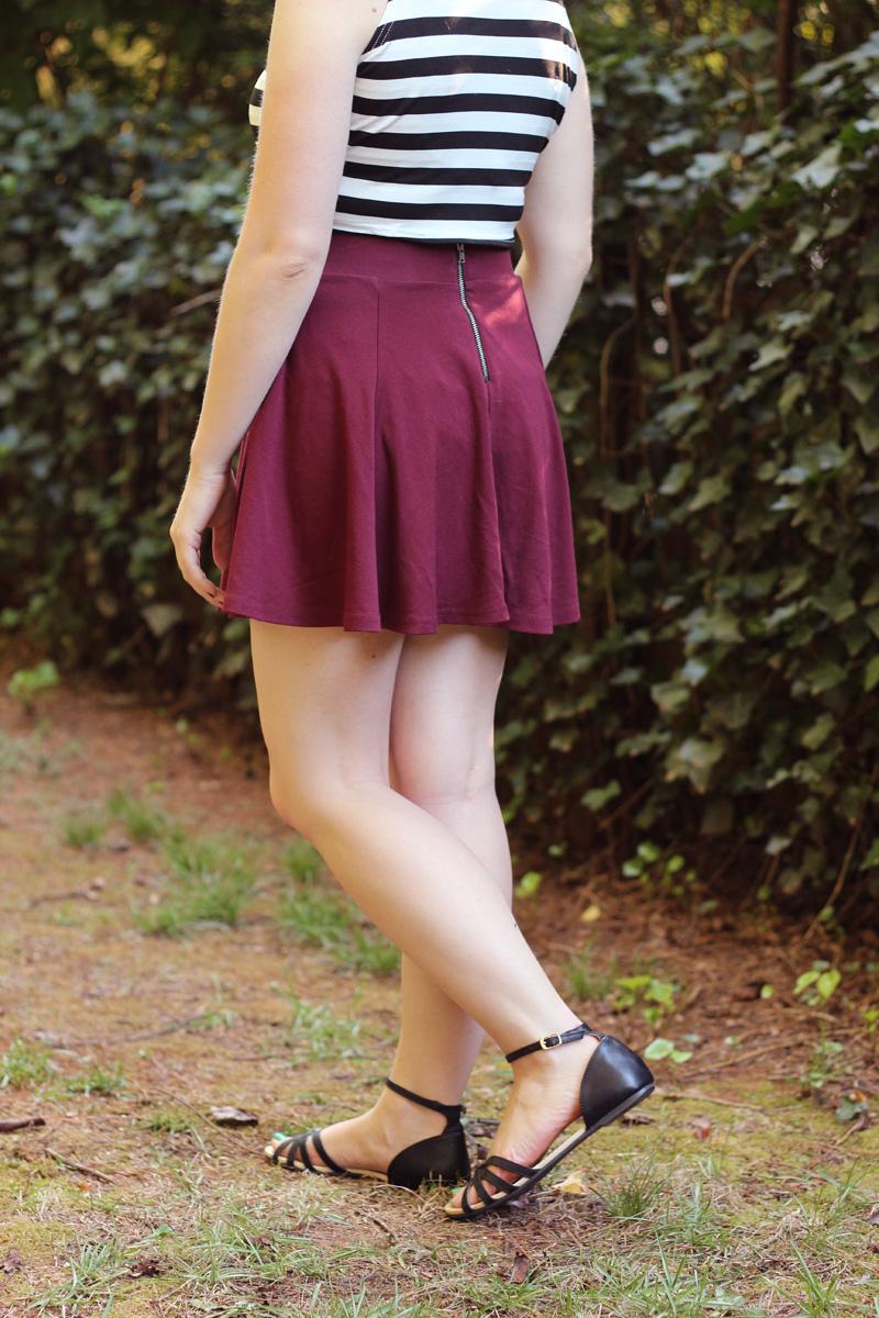H&M Maroon Skater Skirt with Zipper Back