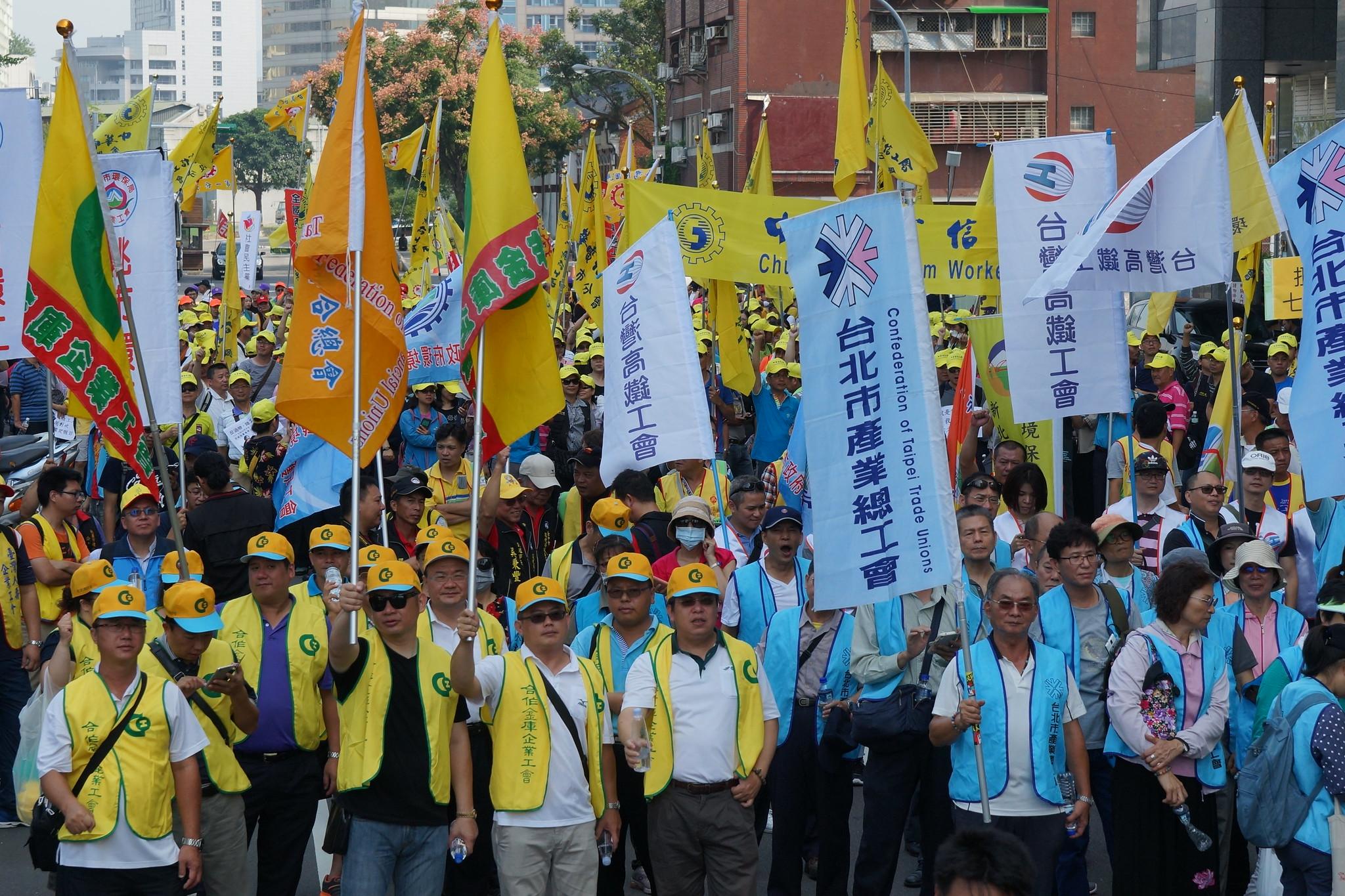 勞團組成「123大聯盟」今上街反砍假。(攝影:王顥中)