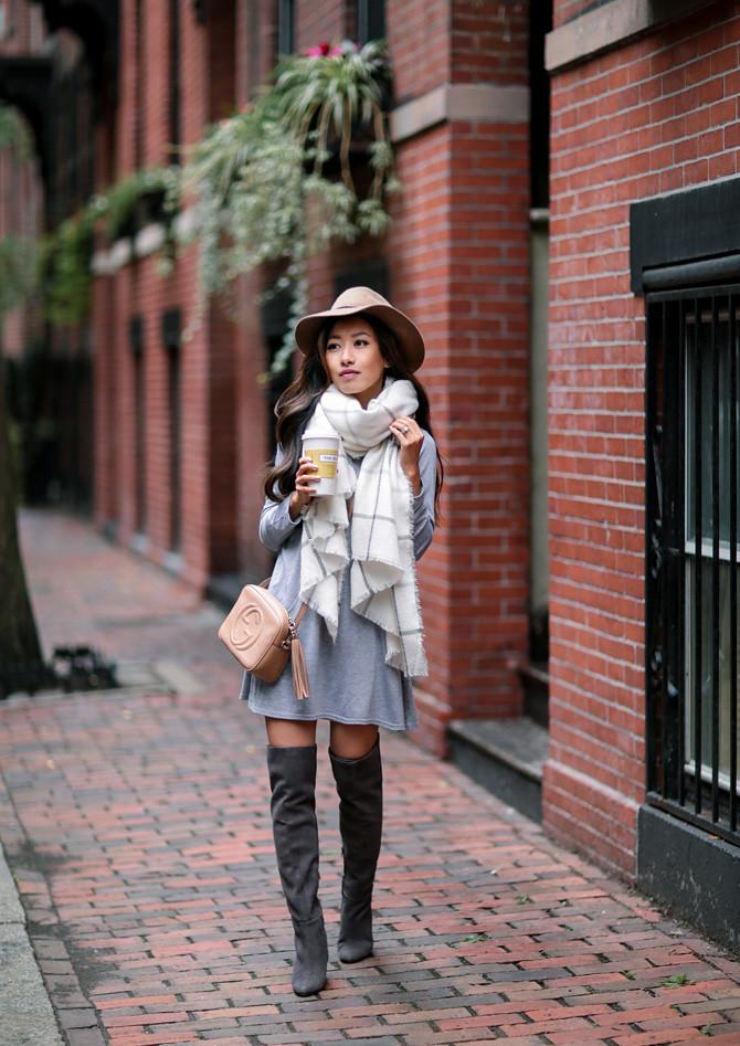 swing dress blanket scarf over the knee boots outfit