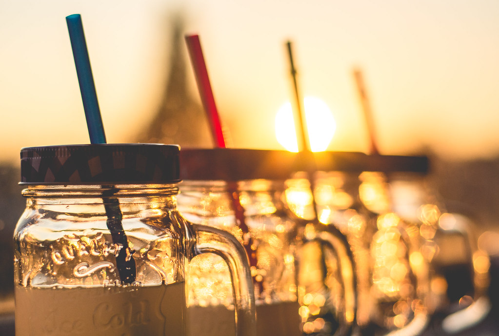 lemonade, sun, sunkissed, sunset, straws, drink, glasses