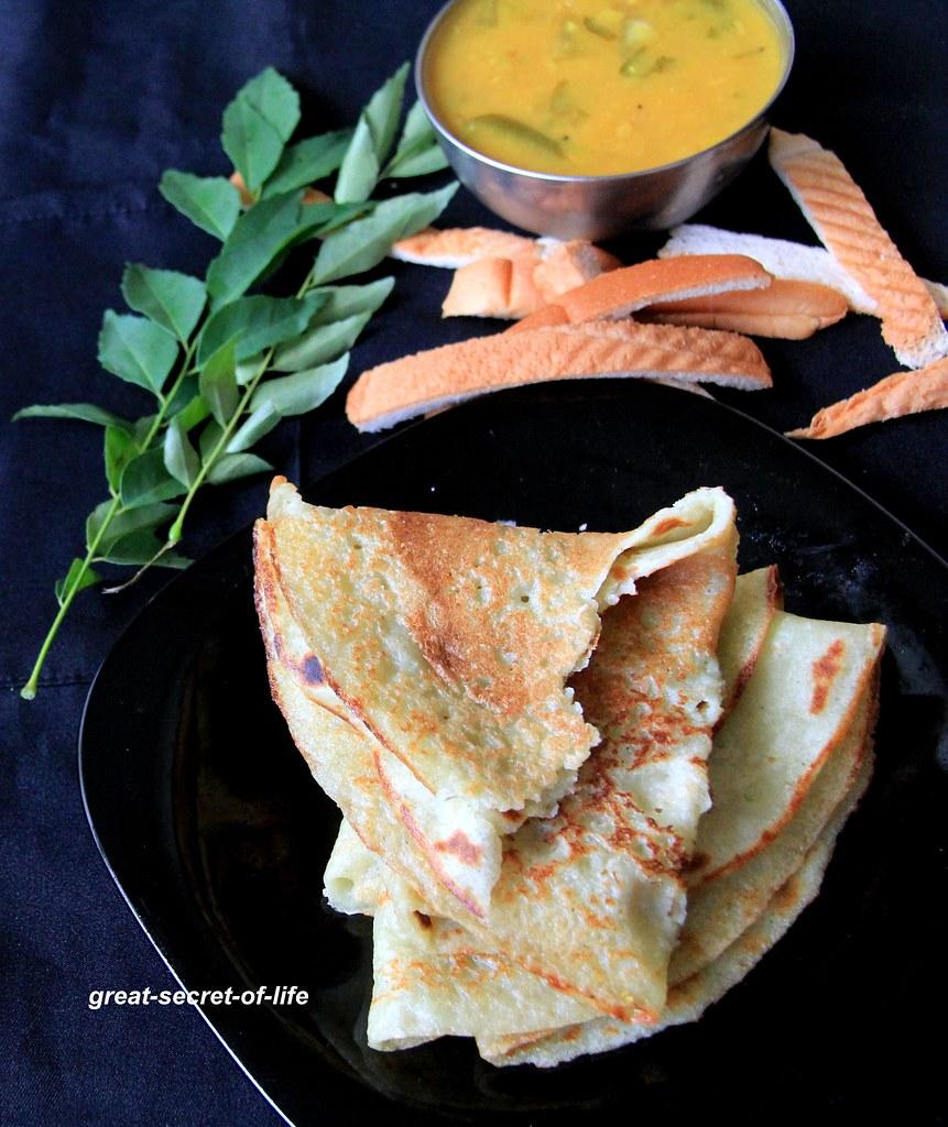 Bread dosa (No Fermention required) - Instant Dosa recipe with Bread - Healthy dosa recipe - Breakfast, Dinner Recipe