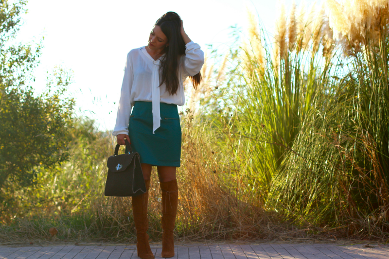 look-falda-verde-polipiel