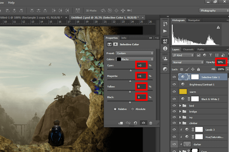 Create a photoshop otherworldly scene with a climber in a cave #3