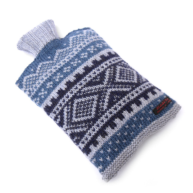 Blue hot water bottle cover