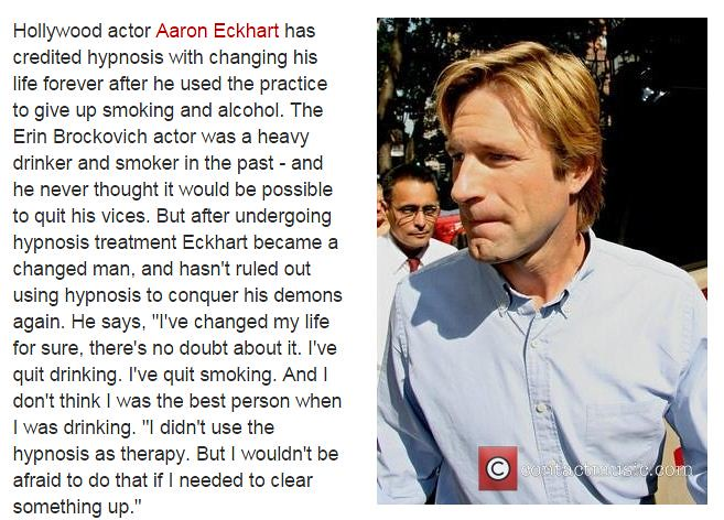 Aaron Eckhart Quit Smoking by Hypnosis