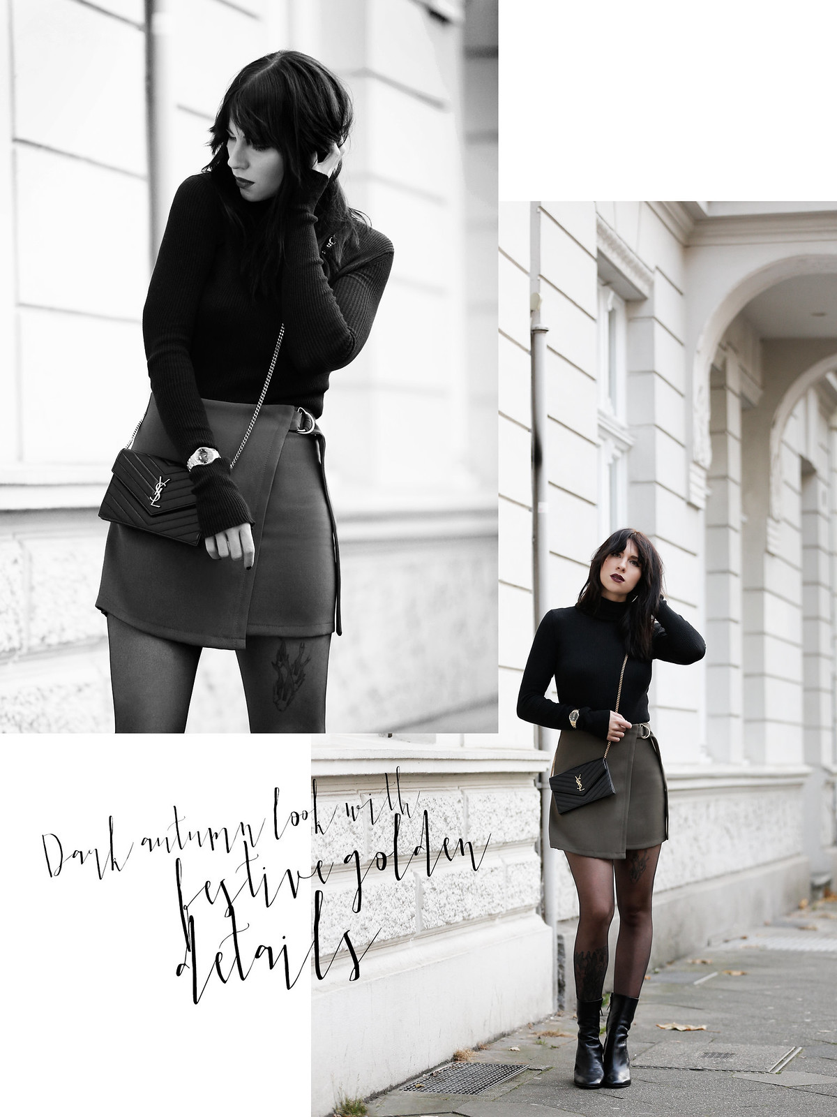 ootd outfit look magazine style mag fashion fashionblogger autumn gothic look black lips dark turtleneck golden watch ysl saint laurent paris bag mini skirt legs boots bangs brunette parisienne modeblogger düsseldorf berlin cats & dogs ricarda schernus 5