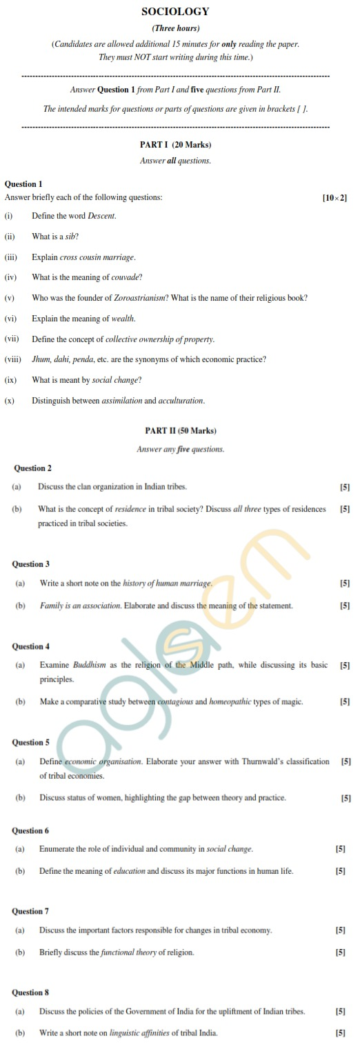 ISC Class 12 Sociology Sample Paper