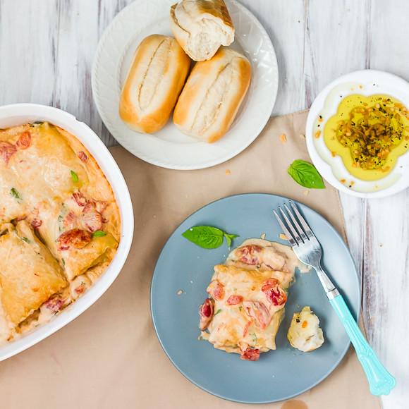 Tomato, Basil, and Chicken Alfredo Lasagna Rolls
