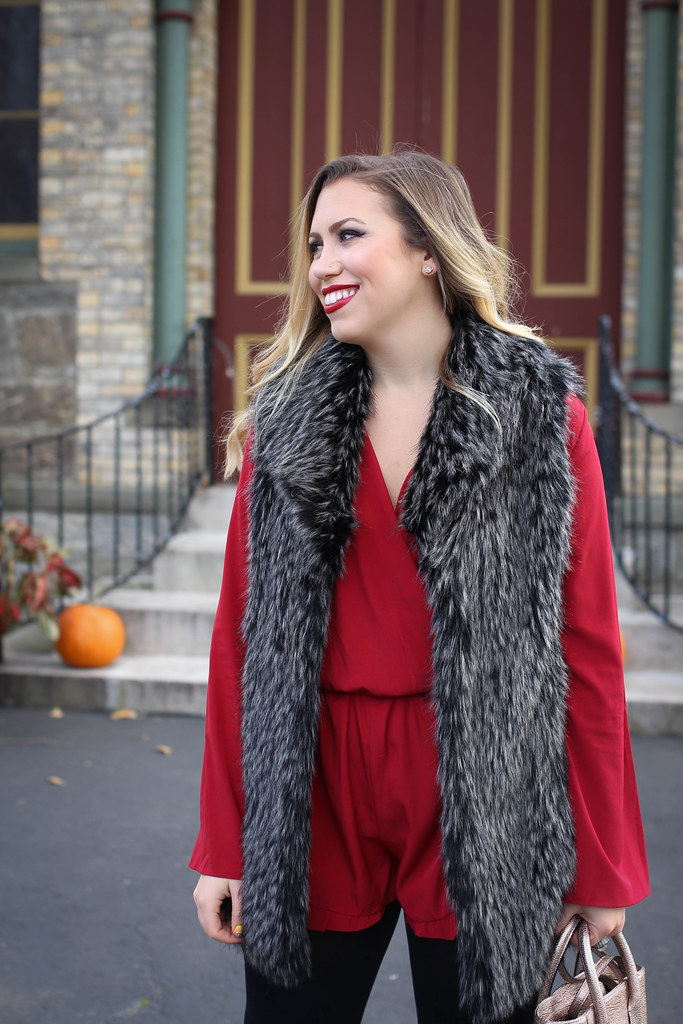 Holiday Red Romper Gray Fur Vest Christmas Outfit Inspiration