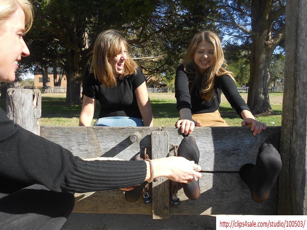 Tickling fingernails on black tights   Gretchen tickles