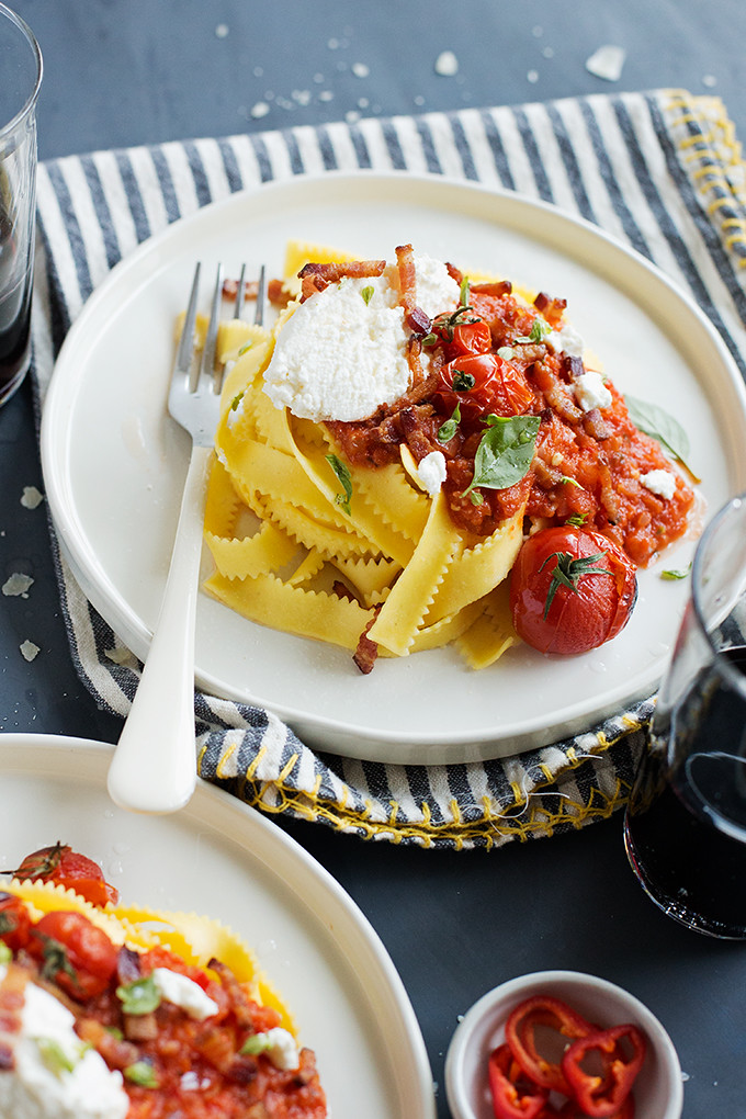 Spicy Fresh Chile, Tomato, & Bacon Pasta with Ricotta