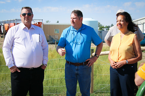 Sen. Jon Tester (MT), Steve Stiles, Mayor of Big Sandy, Mont., and Lisa Mensah, USDA Under Secretary for Rural Development touring the new wastewater facility for Big Sandy