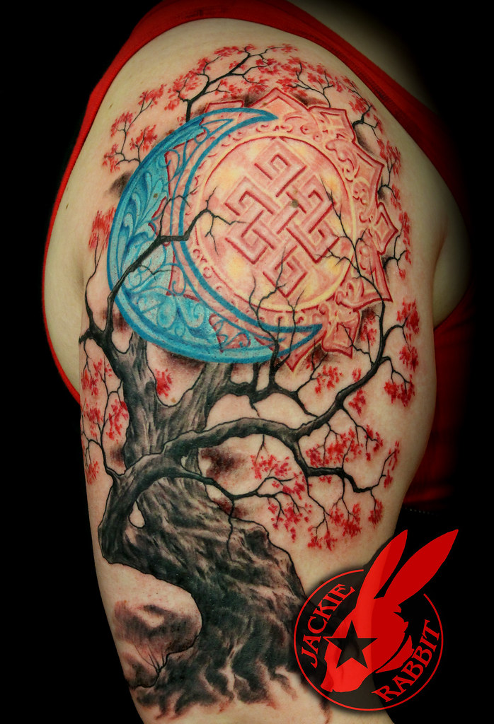 Sun moon realistic cherry tree sleeve tattoo by jackie rab for Realistic sun tattoo