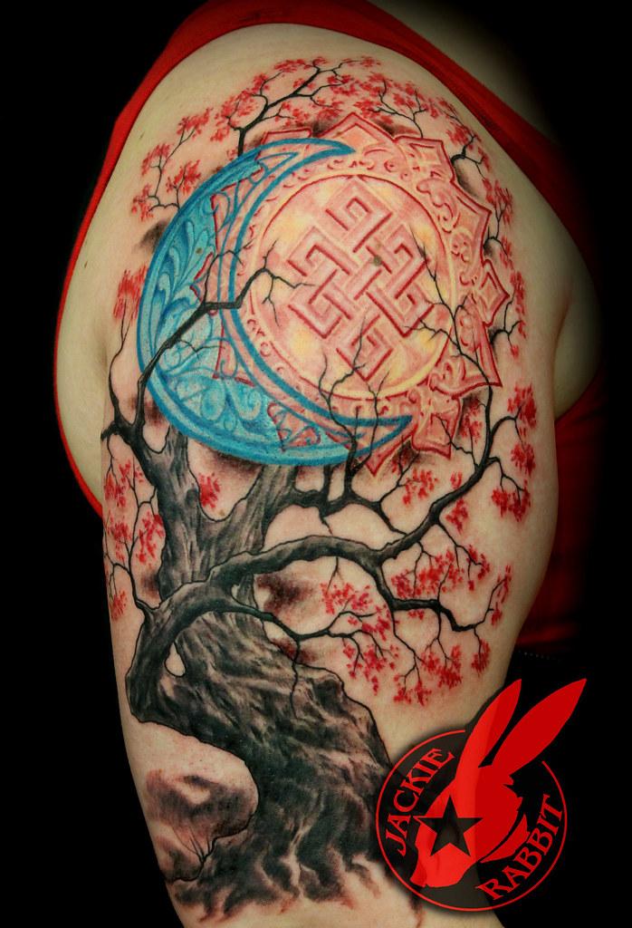 Sun moon realistic cherry tree sleeve tattoo by jackie rab for Realistic tree tattoos