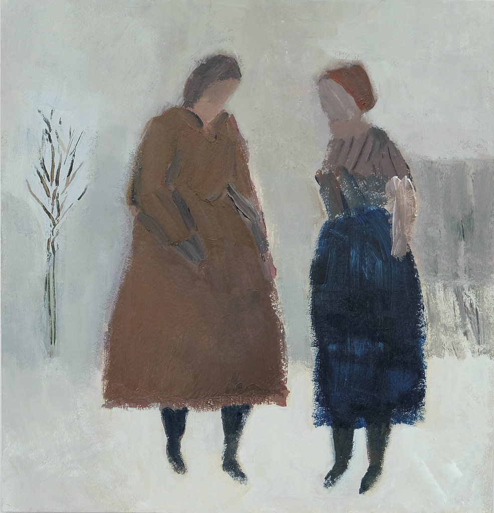 two figures in snow landscape