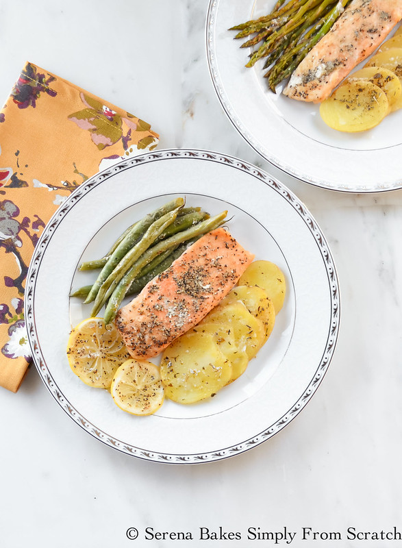 Easy Salmon Potatoes and Green Beans is an easy to make dinner in under 30 minutes start to finish! serenabakessimplyfromscratch.com