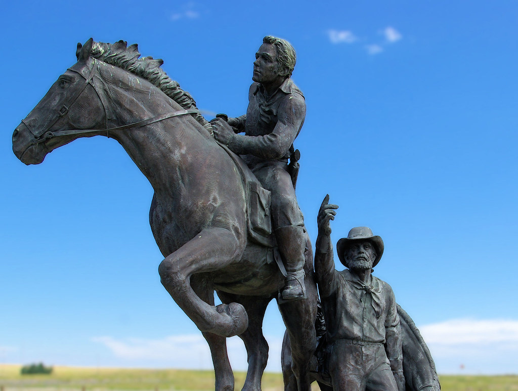 """The Pony Express"" sculpture by Dr. Arvard T. Fairbanks at the National Historic Trails Interpretive Center, Casper Wyoming; July 11, 2010."