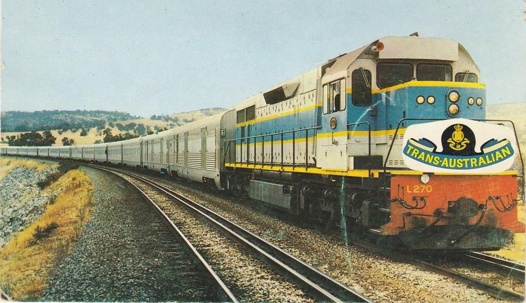 Postcard Of Trans Australian Passenger Train Hauled By L