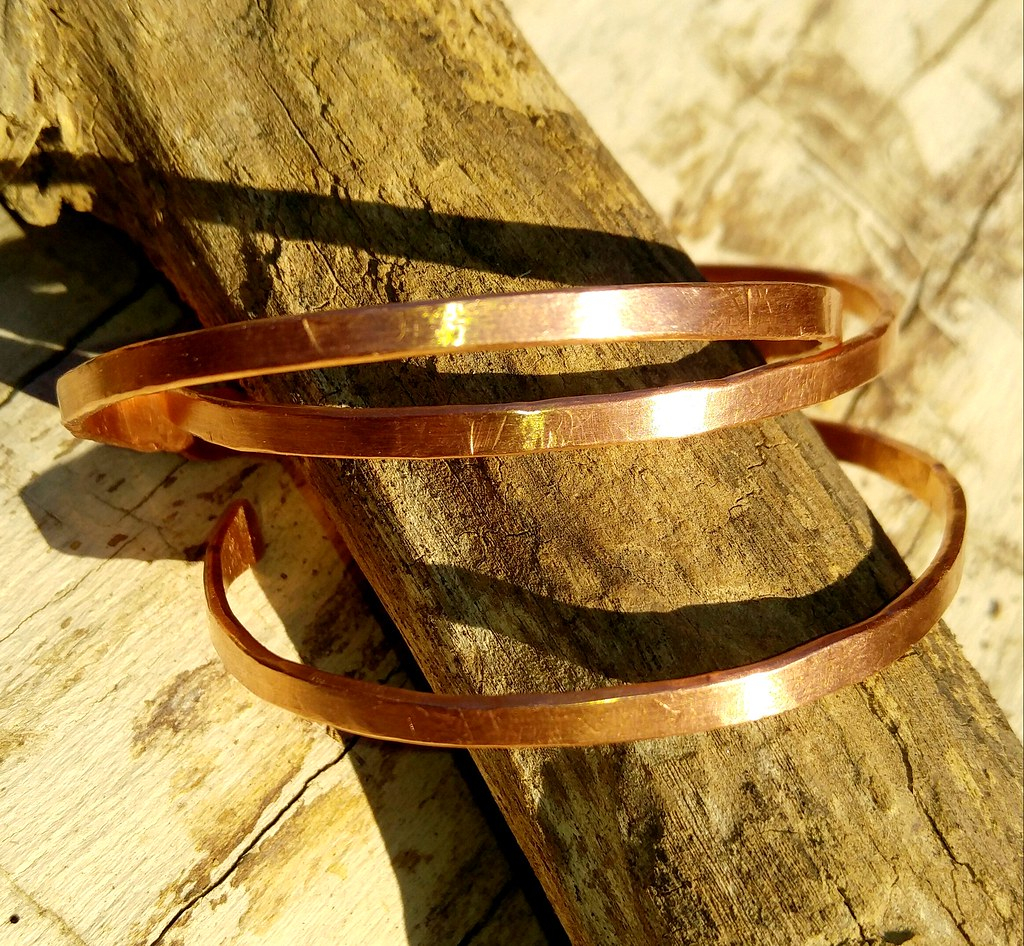 Simple copper bangle cuffs 3