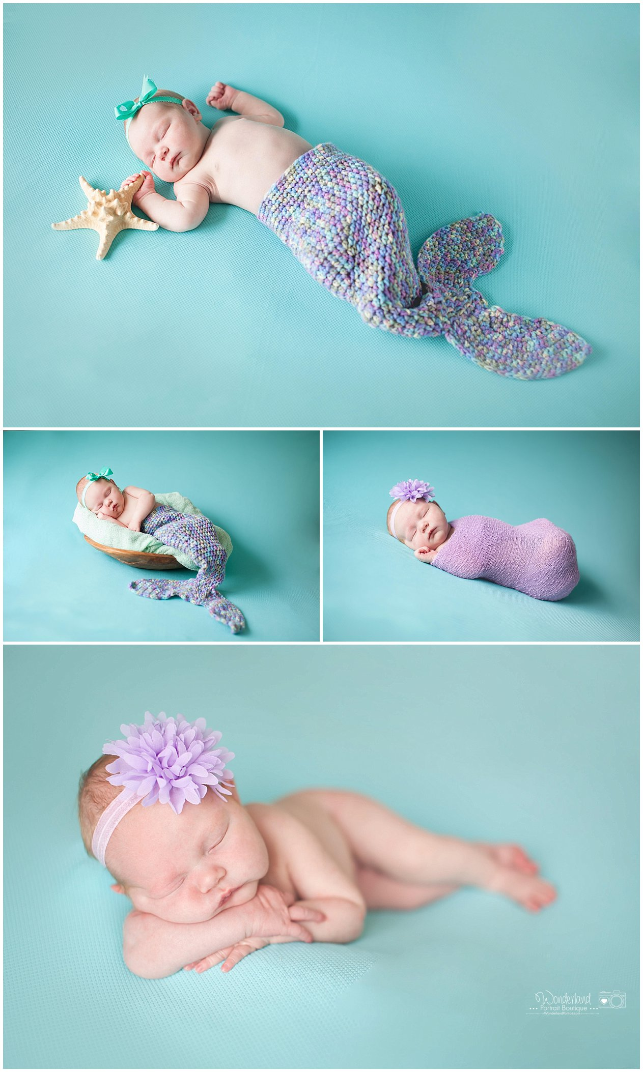 Mermaid Tail Star Fish Pose idea Abington PA Newborn Photography | WonderlandPortrait.com