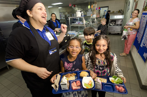 Students, school staff and teachers celebrating National School Lunch Week