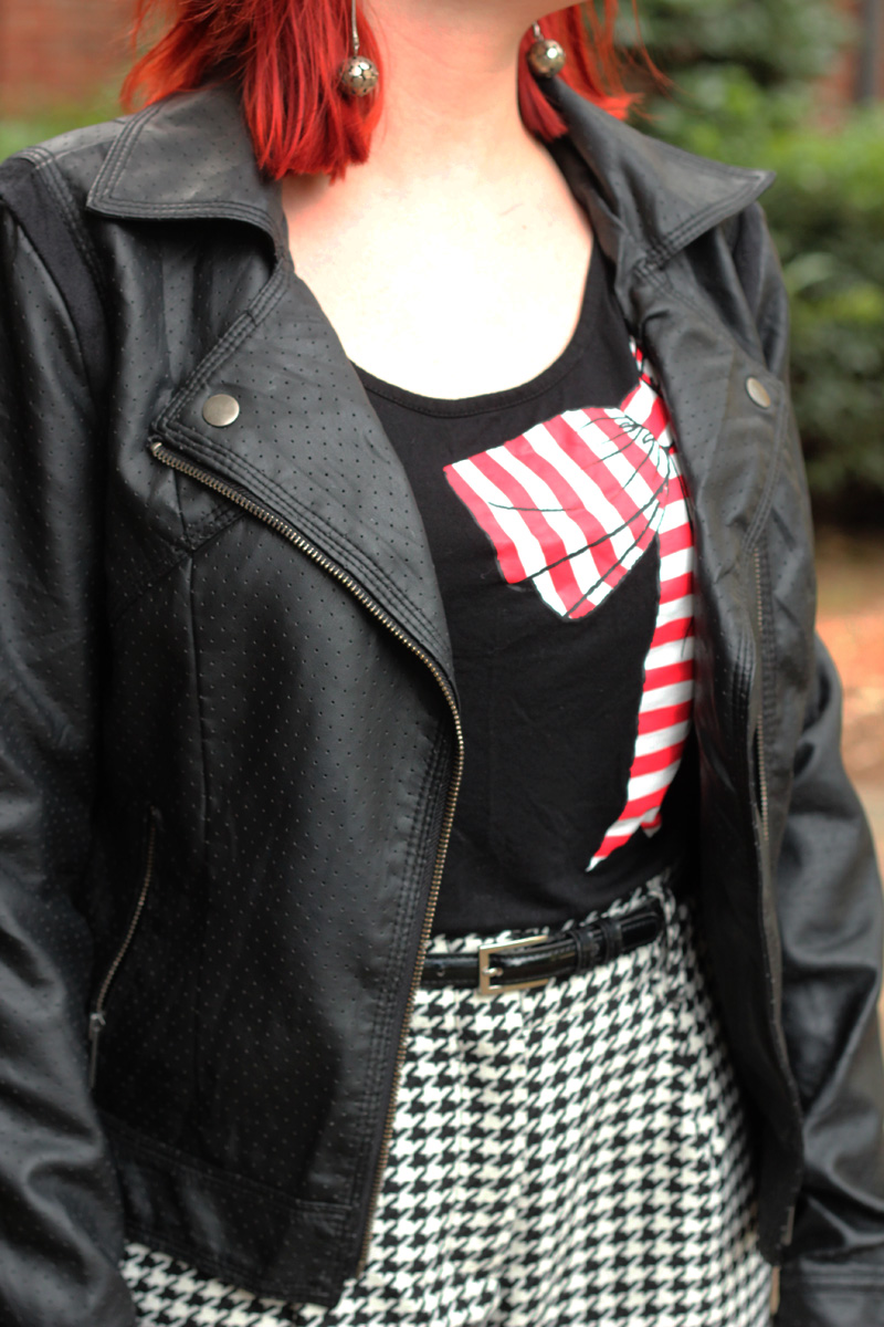 Red Striped Bow Shirt, Faux Leather Jacket, and Houndstooth Shorts
