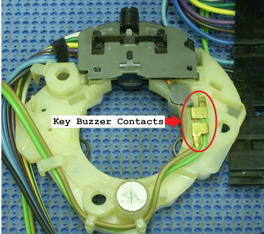 Turn Signal Wire Pink Black Cut Team Camaro Tech Topic Old Switch Wiring Now These Two Squares On The Make Contact To Some Little Brass Arms Off Of Key This Is Normally Open When No In