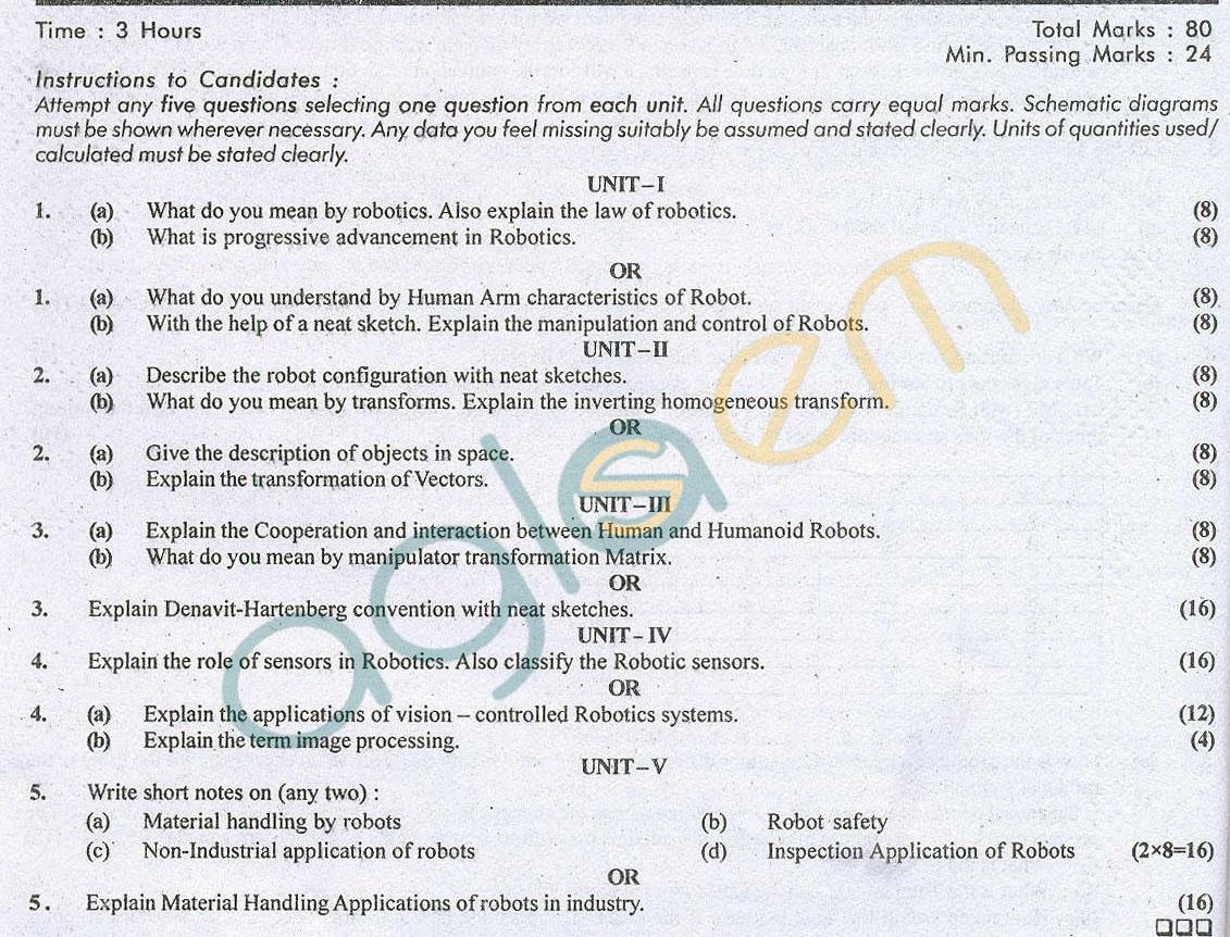 Rtu Question Papers 7 Semester Me Robotics Aglasem