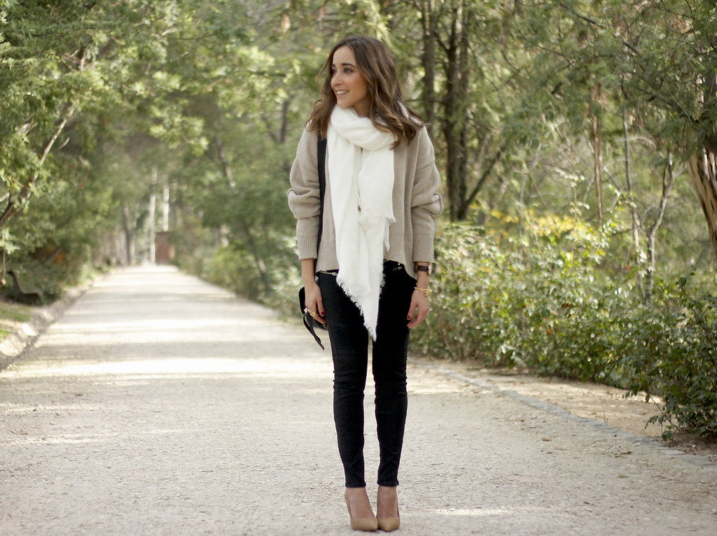 Beige Sweater Black Jeans Nude Heels White Scarf Coach Bag