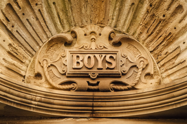 boys carved in stone