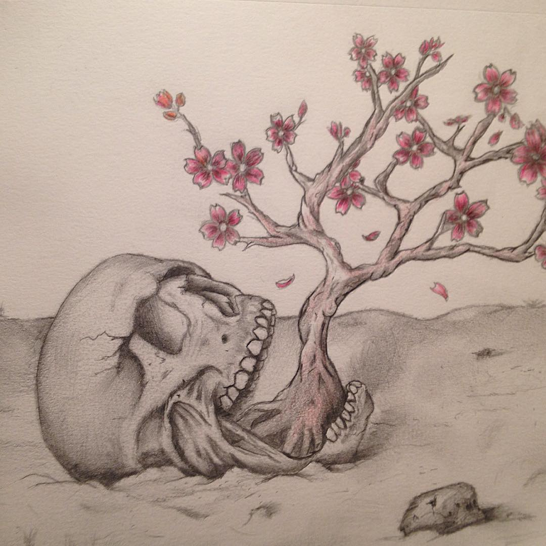 all sizes skull and cherry blossom sketch ive been