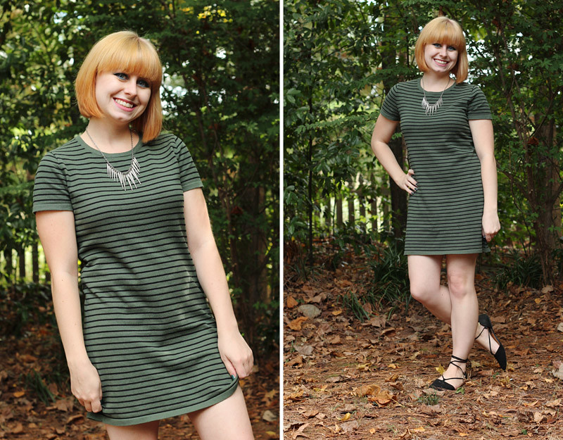 New Blonde Hair with a Comfy Loose Striped Shift Dress and Lace Up Flats