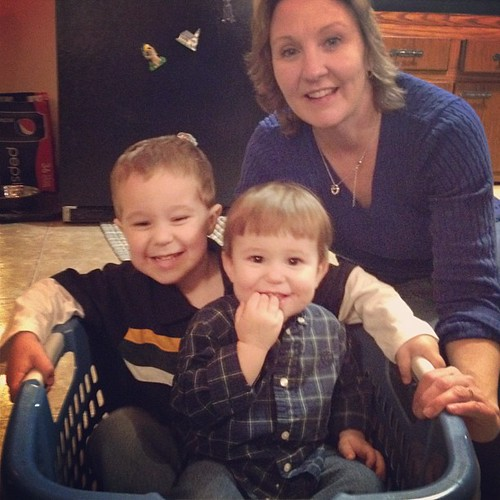 Thanksgiving laundry basket rides!