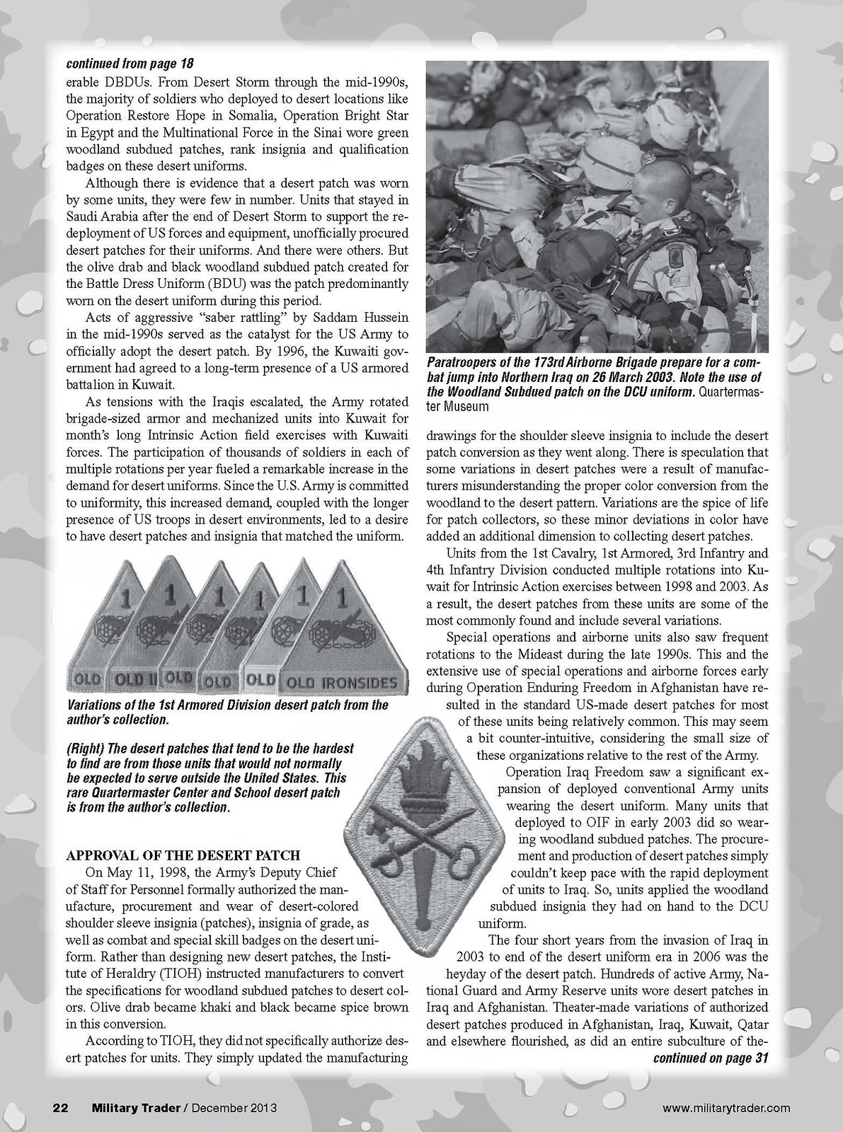 Desert Uniforms, Patches and Insignia of the US Armed Forces