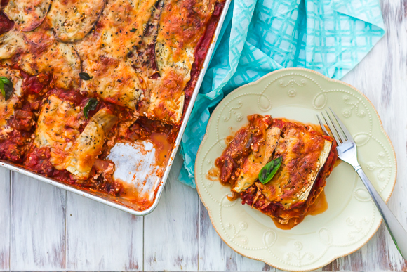 Beef Lasagna with Eggplant Noodles