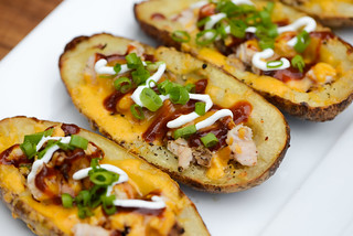 Smoked Turkey Stuffed Potato Skins