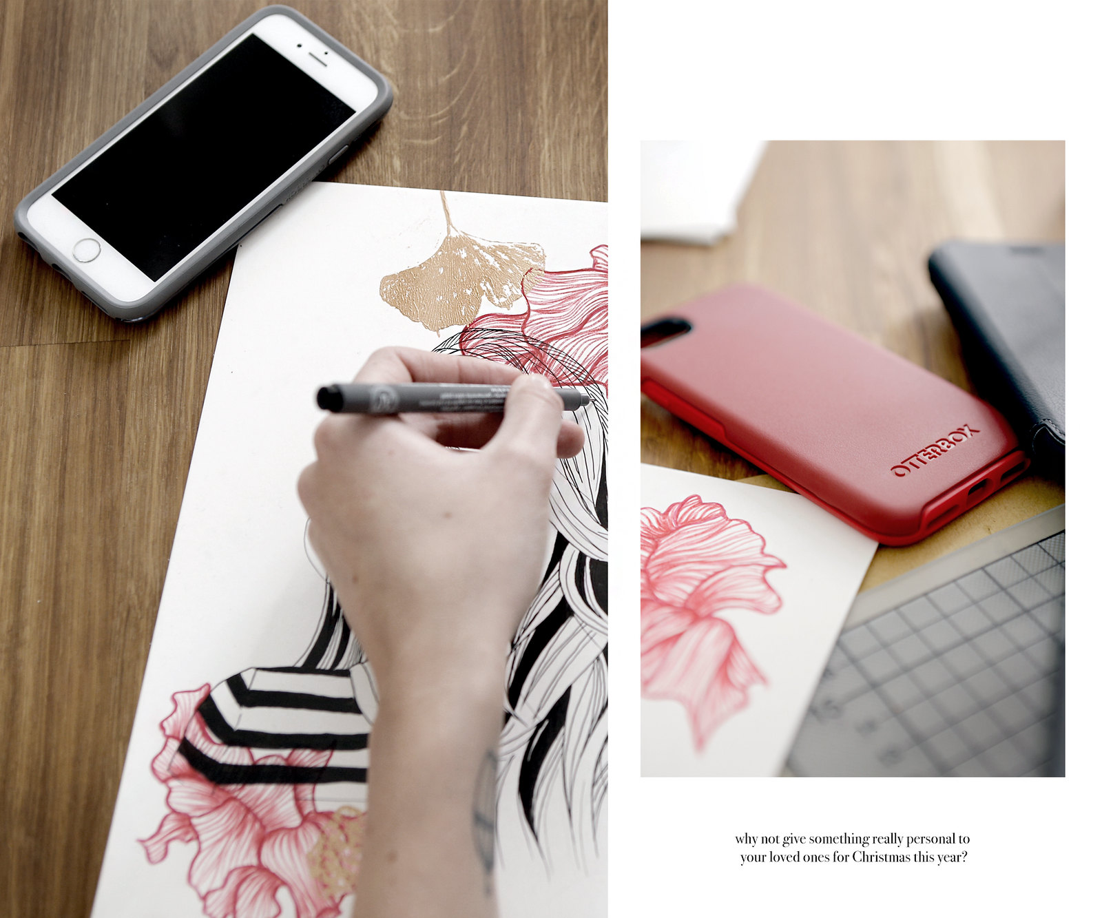 OtterBox #ChristmasCovered collaboration mobile phone accessory drawing painting giving christmas gifts gift giftguide artist brunette parisienne chic minimal scandi home cats & dogs lifestyleblog ricarda schernus modeblogger berlin düsseldorf 4