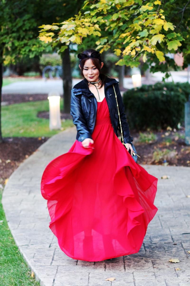 shein-red-maxi-dress-leather-jacket-choker-5