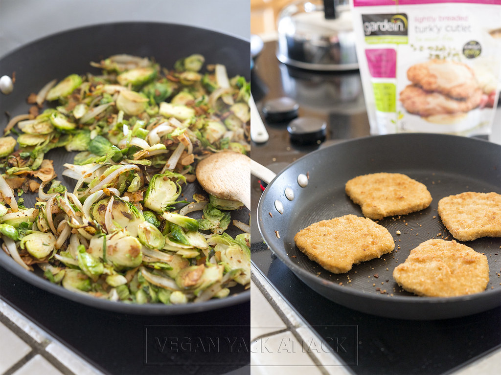 Seared Brussels Sprouts with Coconut Bacon and gardein turk'y cutlets