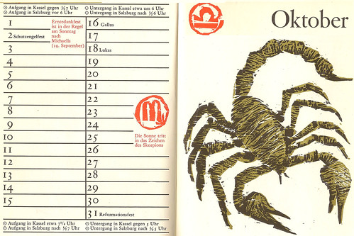 Immerwährender Kalender Kalenderbüchlein Oktober Tierkreiszeichen Sternzeichen Horoskop Skorpion Wetter Bauernregel Ernte Erntedank