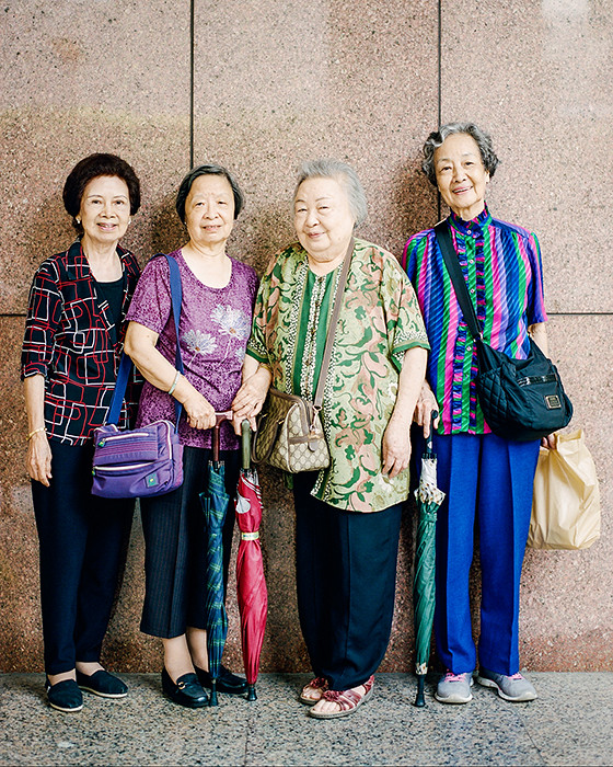 © 2016. Grandma (far left) with friends in Neihu District. Tuesday, Sept. 6, 2016. Portra 400+1, Pentax 6x7.