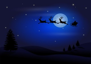 Santa and reindeer flying through the night sky - header for List page