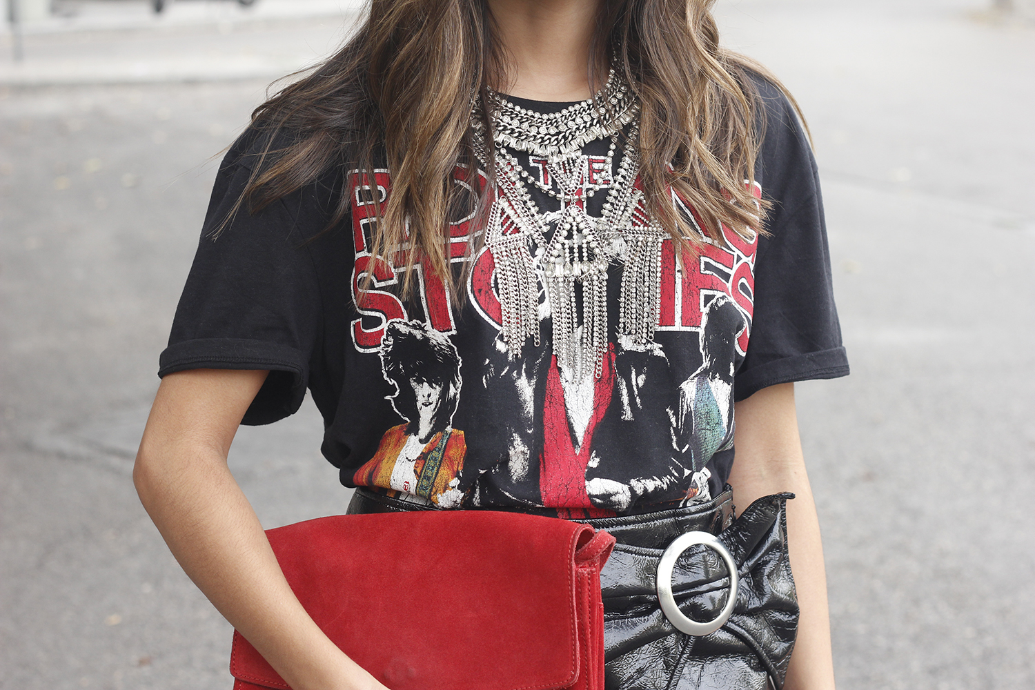 patent leather skirt t-shirt necklace heels leather jacket outfit style fashion12